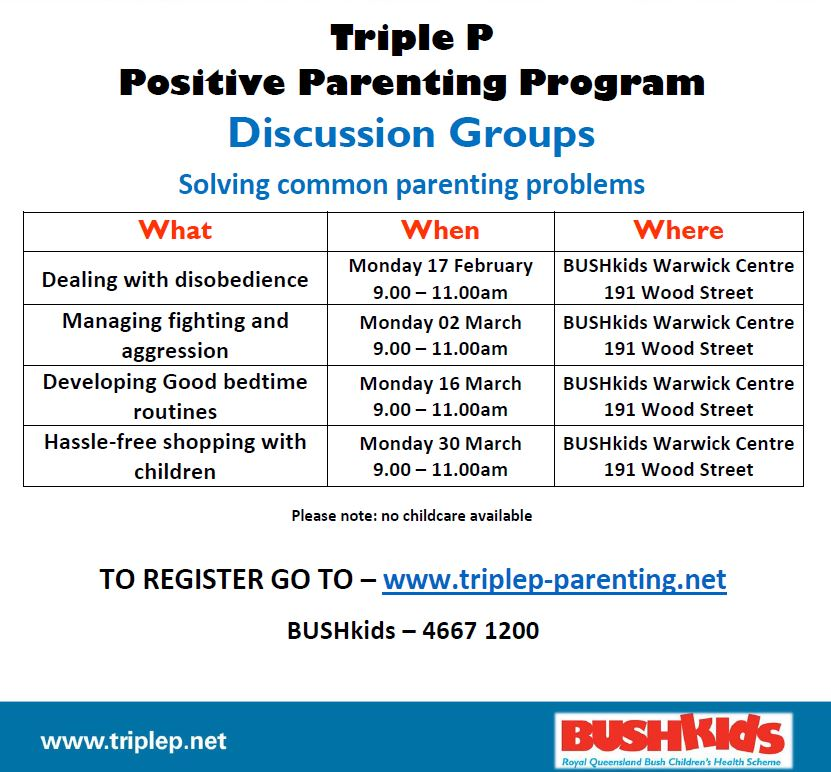 (Free) Warwick – Triple P Positive Parenting Program Discussion Groups – Dealing with Disobedience