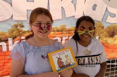 Friends having fun with their mouse noses that they made from todays book focus of WHO SANK THE BOAT.